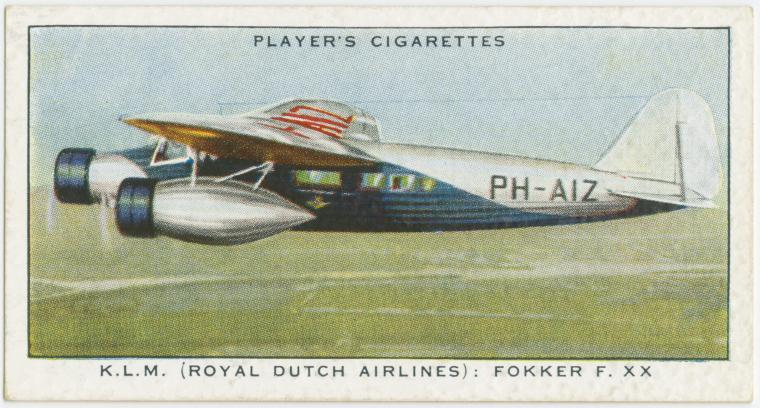 Air Liners of the 1930s on trading cards: KLM: Fokker F XX (Holland)