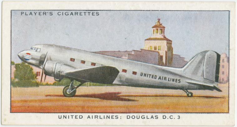 Air Liners of the 1930s on trading cards: United Airlines: Douglas D.C. 3 (U.S.A.)