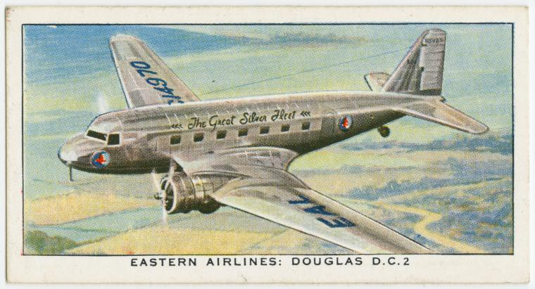 Air Liners of the 1930s on trading cards: Eastern Airlines: Douglas D.C. 2