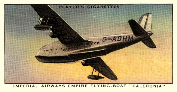 "air Liners of the 1930s on trading cards: Imperial Airways Empire Flying-Boat ""Caledonia"" (Great Britain)"