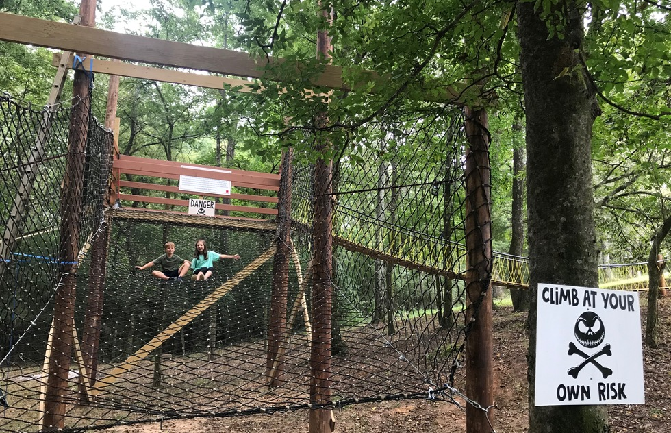 A climbing obstacle at Griffin Farms in Blocton, AL