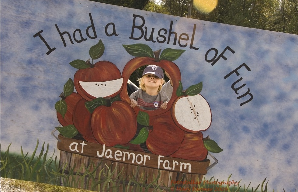 A young boy poses for a photo at Jaemor Farms in Georgia