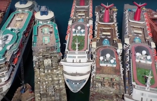 WATCH: Spectacular Drone Footage of Cruise Ships Being Scrapped in Turkey | Frommer's