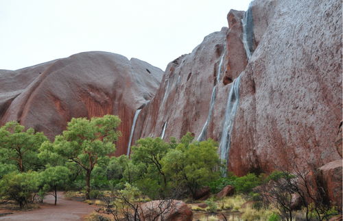 WATCH: Rare Waterfalls Appear All Over Australia's Uluru | Frommer's