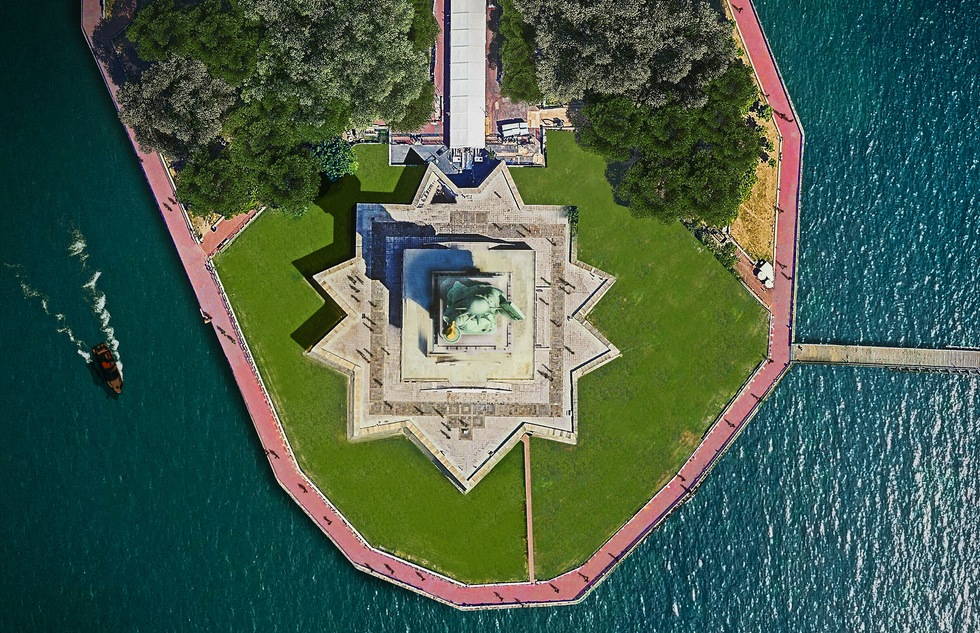 Overhead image of the Statue of Liberty in New York City