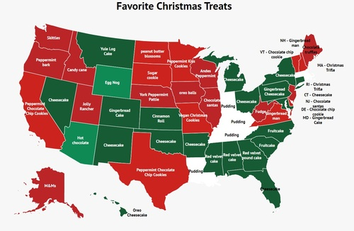 Maps: The Most Popular Holiday Gifts and Sweet Treats Across the USA | Frommer's