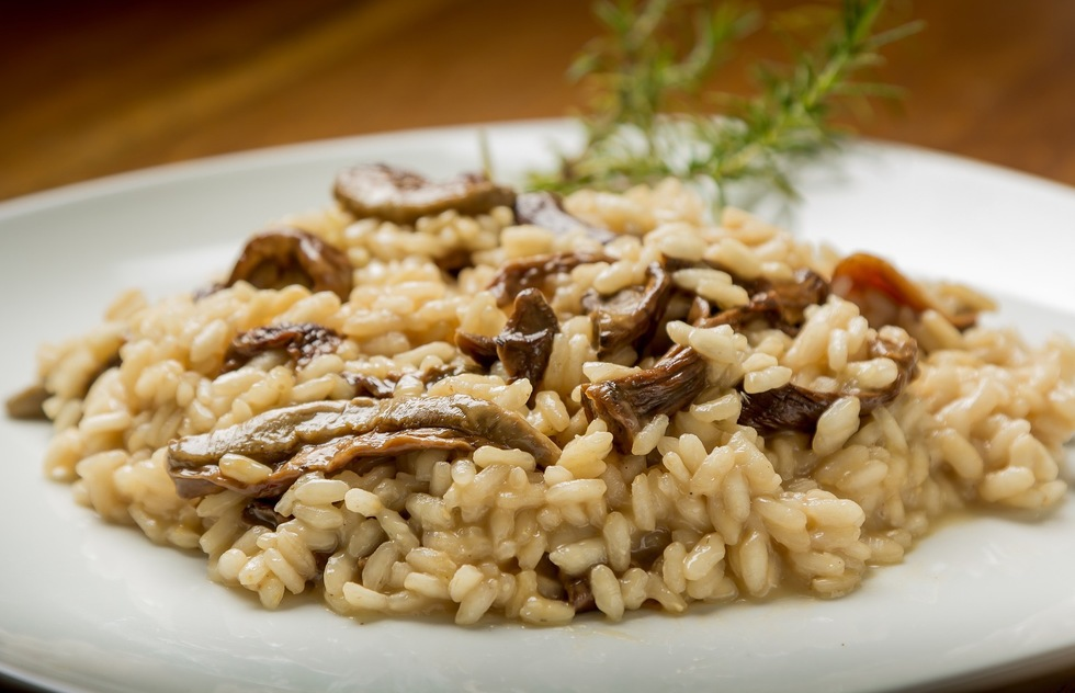 A plate of risotto with mushrooms.