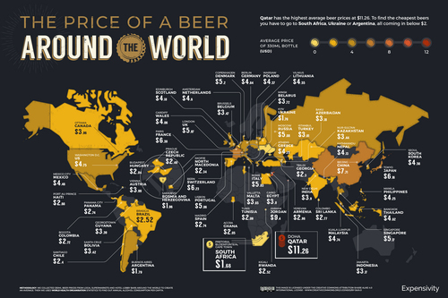 Bar Tab: Map Shows the Cost of Beer Around the World | Frommer's