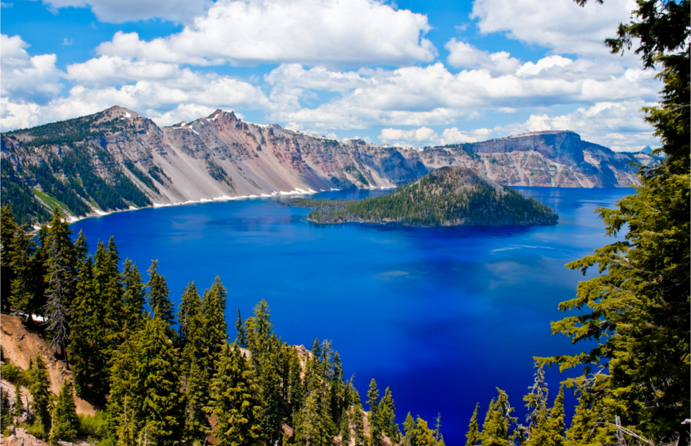 A bird's eye view of Crater Lake in Oregon