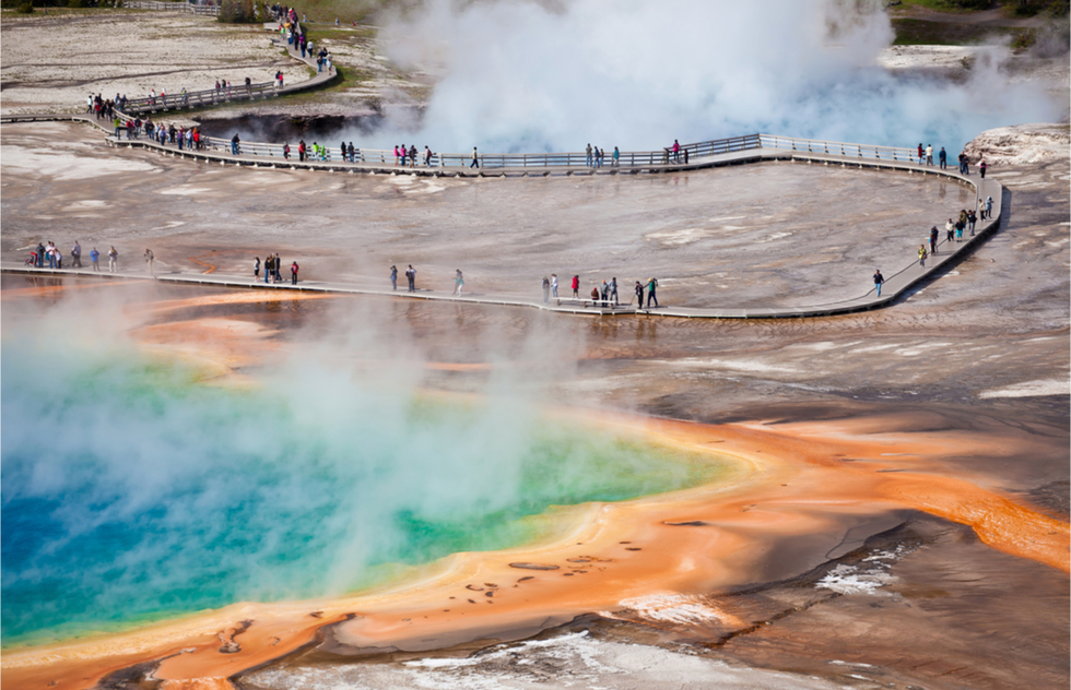 Which National Parks to see in June, July, August, and September: Grand Prismatic Lake in Yellowstone National Park