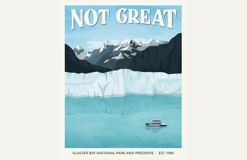 Illustration of Alaska's Glacier Bay National Park and Preserve from 'Subpar Parks' by Amber Share