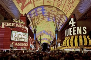 Fremont Street is best toured at night, when it's lit up in all of its neon and laserenhanced glory.