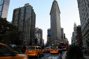 The iconic Flatiron Building in New York City.
