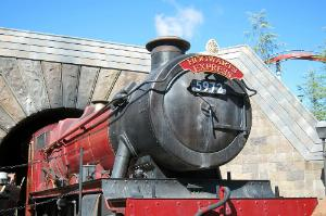 A model of the Hogwarts Express at the Wizarding World of Harry Potter at Universal's Islands of Adventure in Orlando, Florida.