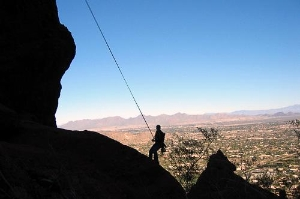 Rock climbing on Camelback Mountain, Phoenix.