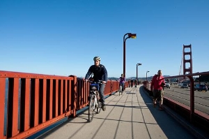 Biking on Golden Gate Bridge, San Francisco, CA