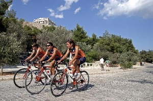 Cyclists in front of the Acropolis, Athens
