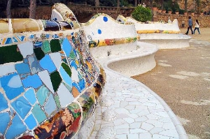 Antoni Gaudí's intricate mosaic work is featured extensively throughout Parc Güell.