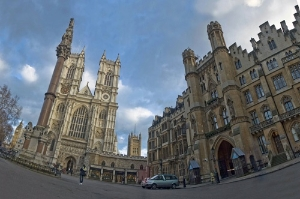 The Great West Door and Towers of Westminster Abbey, as seen in fisheye view from Tothill Street, London.