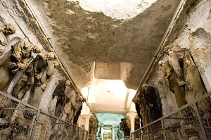 Many of the mummified corpses in the Catacombe dei Cappuccini remain fully clothed centuries after death.