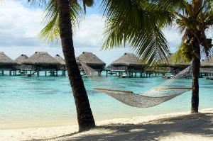 Relaxing in a hammock on the beach in Moorea, French Polynesia.