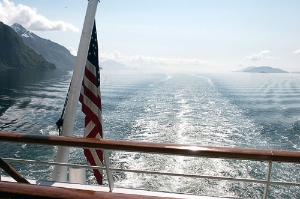 Southeast Alaska from the stern of Cruise West's <em>Spirit of Endeavour</em>