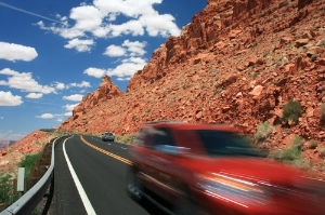 Red car on the road in Arizona. Photo: Aliaksandr Nikitsin/Dreamstime.com
