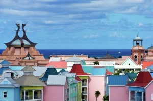The view of colorful roofs on Paradise Island, The Bahamas