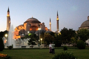 Exterior of Ayasofya in early evening.