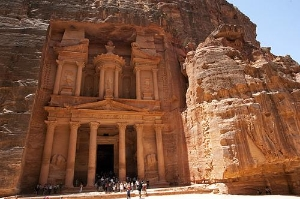 Ancient ruins of The Treasury, archaeological site in Arabah-Petra, Jordan