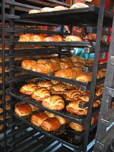 Bread on a rack in a bakery