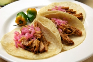 Conchinita pibil, pit-baked pork, is a Yucatan specialty.