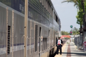 Conductor for Amtrak's Pacific Surfliner at Fullerton, California.
