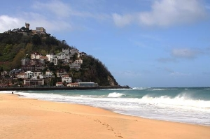 A shot of the West side of the bay in San Sebastian (Donostia), Spain