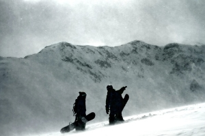 Snowboarders in Silverton, Colorado.
