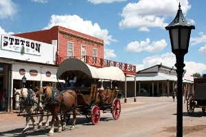 The main street of Tombstone, Arizona, is where all the action takes place.