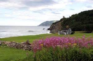 Panoramic view along the coastline near Meat Cove Area of Cape Breton Island
