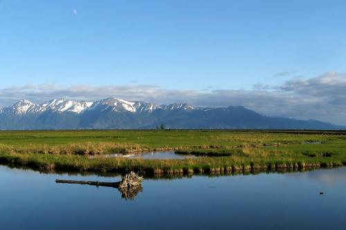 Scenery from south of Alaska, Anchorage Earthquake Potter Marsh, bird reserve and Chugach mountains are in background