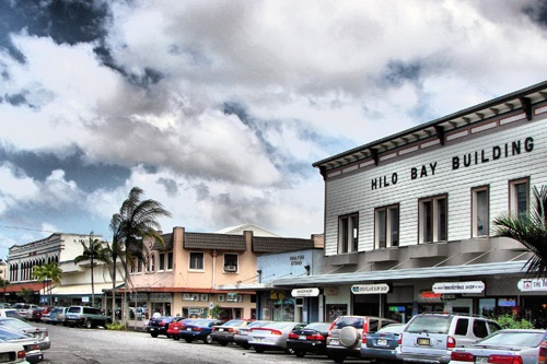 Hilo's quaint downtown contains wooden clapboard and stucco buildings