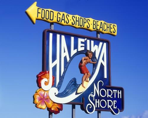 This colorful sign welcomes visitors to Haleiwa.