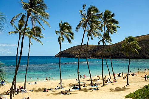 The protected beach of Hanauma Bay offers unparalleledsnorkeling and scuba diving with spectacular marine life and coral.