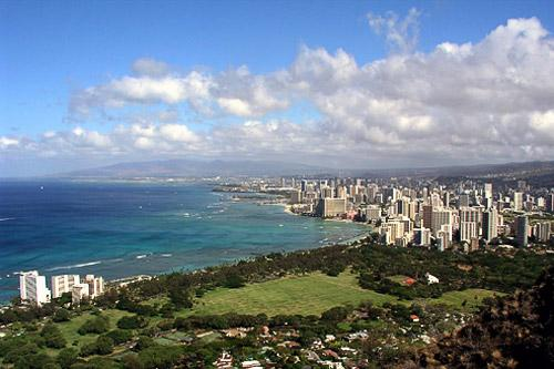 "Looking down on Waikiki Beach from the top of Diamond Head. Photo by <a href=""http://www.frommers.com/community/user_gallery_detail.html?plckPhotoID=3f7a4ba9-aa98-46bd-9576-c21f4791e127&plckGalleryID=c0482941-0d2d-4cca-b8c4-809ee9e20c72"" target=""_blank"">Michael Marfell/Frommers.com Community</a>"