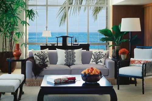 Living room in a suite at Halekulani in Waikiki, Oahu.