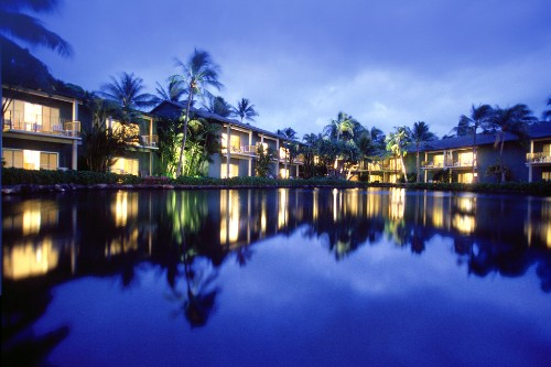 The Dolphin Lagoon at night, Kahala Hotel & Resort.