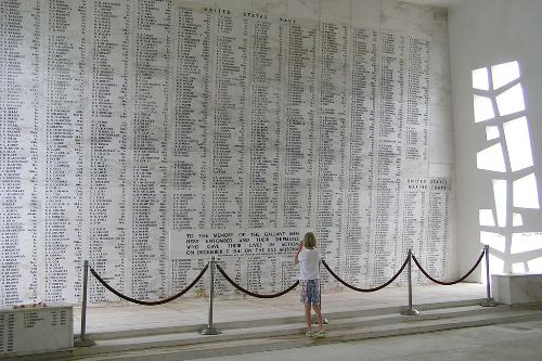 The USS Arizona Memorial in Pearl Harbor. Oahu, Hawaii.