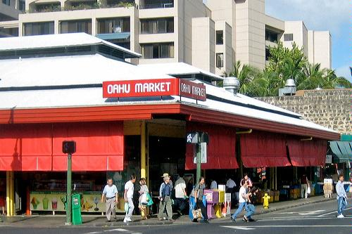 The Oahu Market in Honolulu, Hawaii.