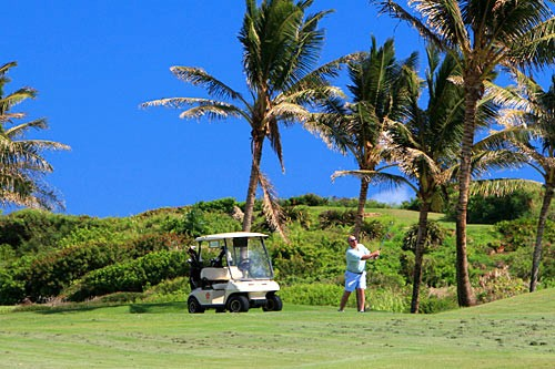 The links-style layout of par-72 Poipu Bay Golf Course offers challenging greens and water hazards along with its beautiful vistas.