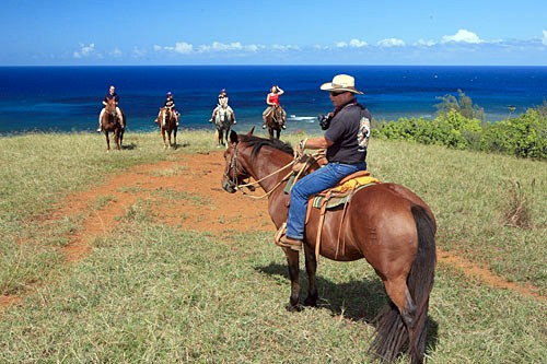 Rugged Kauai may be best seen on horseback; many tours will take you to hidden falls and beaches.