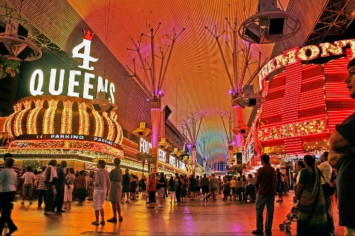 Enjoy light shows, concerts, and casinos on Fremont Street.