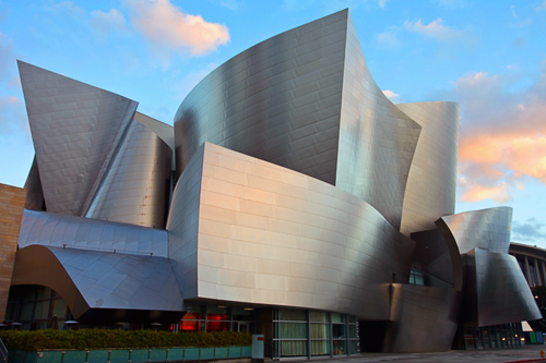 Outside the Walt Disney Concert Hall.